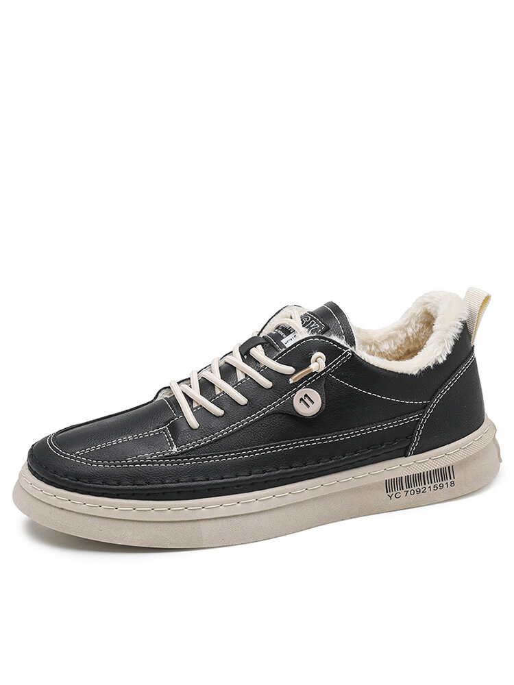Men Comfy Microfiber Leather Plush Warm Lined Casual Sneakers