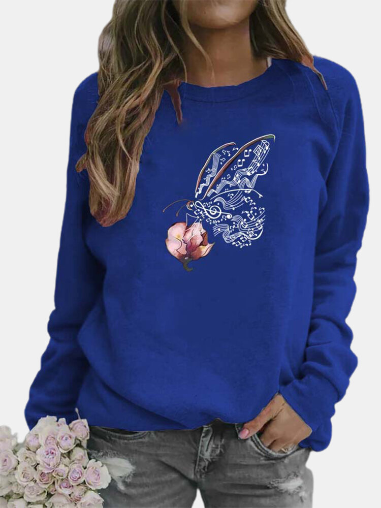Butterfly Printed Long Sleeve O-neck T-shirt For Women