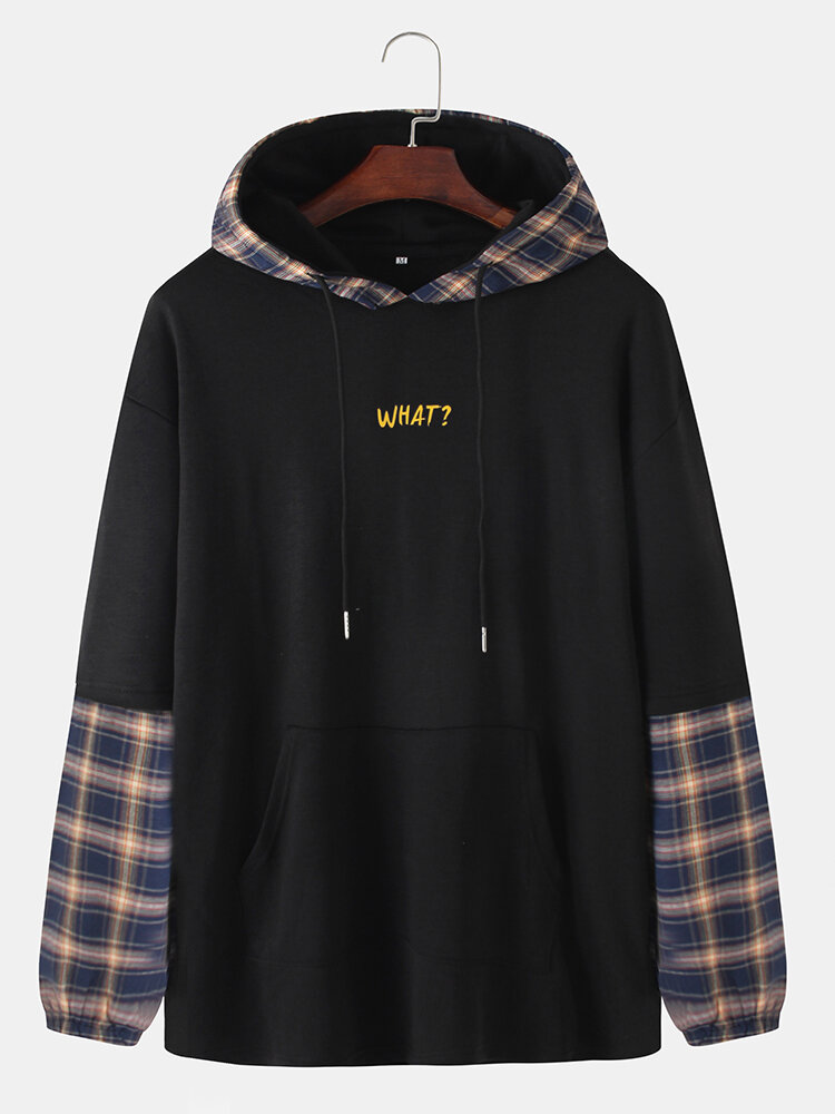 Mens Plaid Patchwork Letter Print Doctor Sleeves Casual Loose Hoodies With Muff Pocket