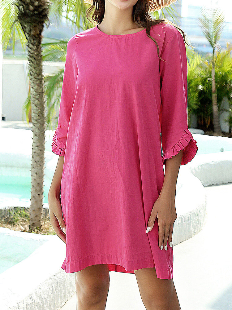 Solid Color Ruffle Sleeve O-neck Casual Dress for Women