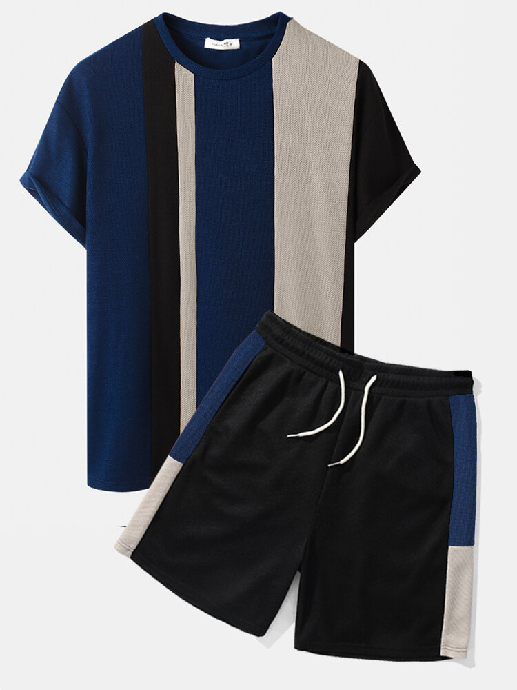Mens Knitted Contrasting Color Stitching Short Sleeve Two Pieces Outfits