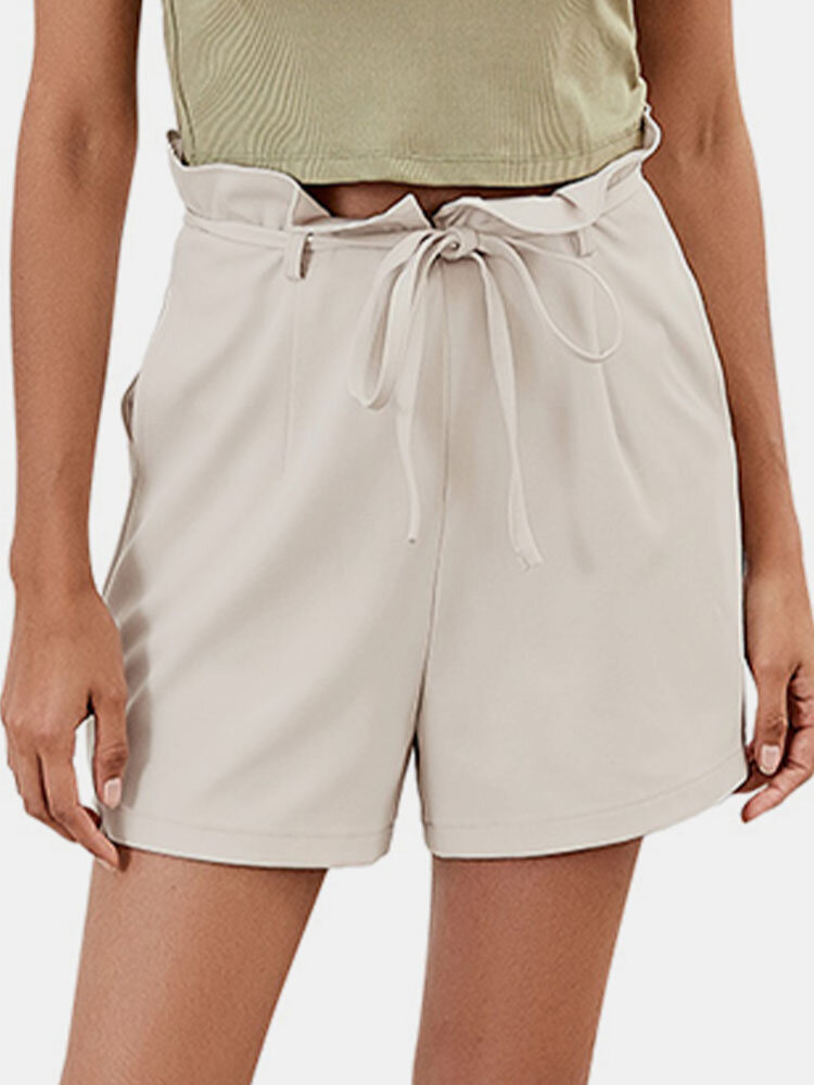 Plain Tie Front High Waist Casual Shorts for Women