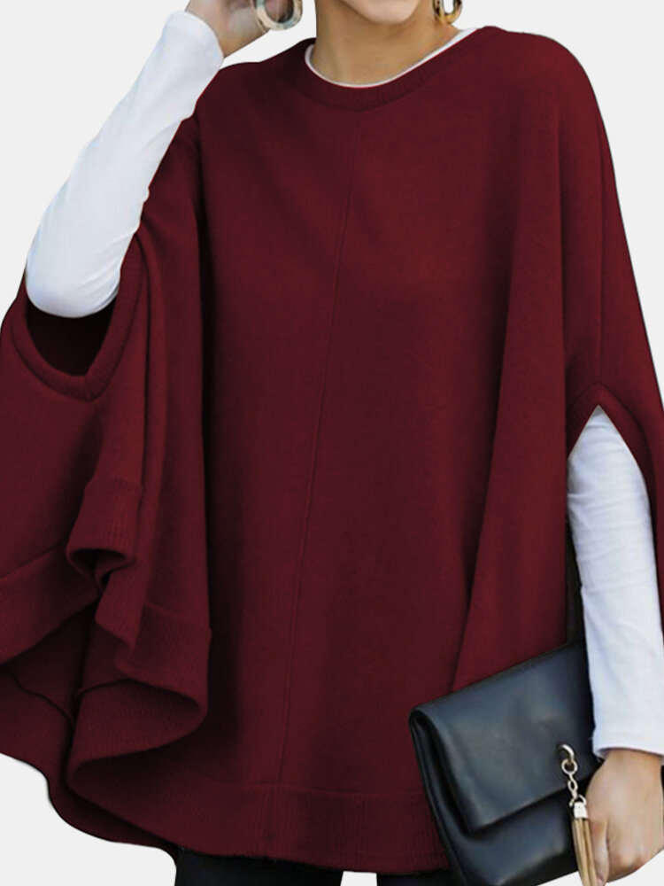 Solid Color Cape Curved Hem Casual Blouse for Women