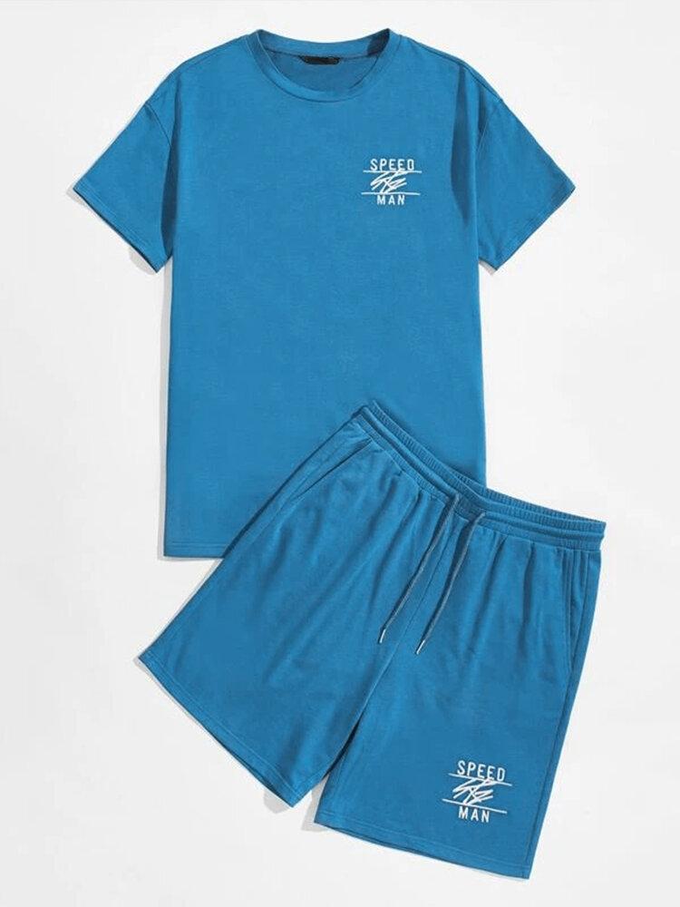 Mens Letter Graphics Crew Neck Short Sleeve T-Shirt & Drawstring Shorts Co-ords