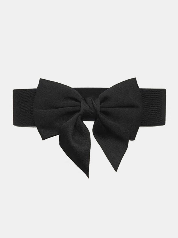 Women Hasp Bowknot Decoration Black Fashion Simple Girdle Belt
