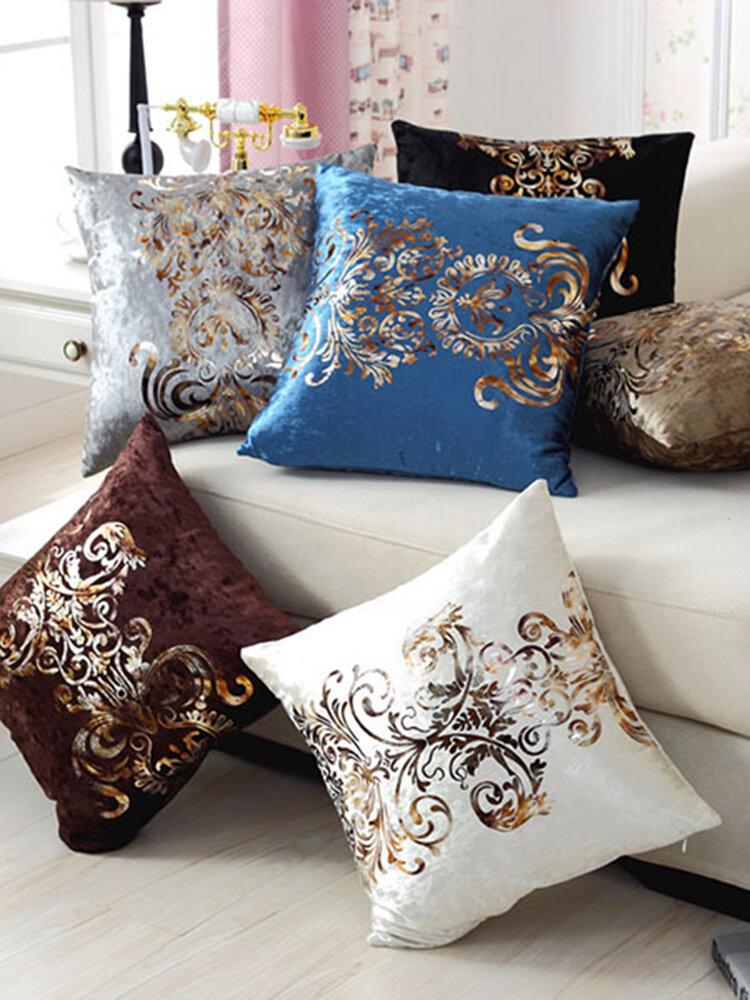 Luxurious Velour Pillow Cover Bronzing Cushion Cover Home Decor Golden Print PillowCase