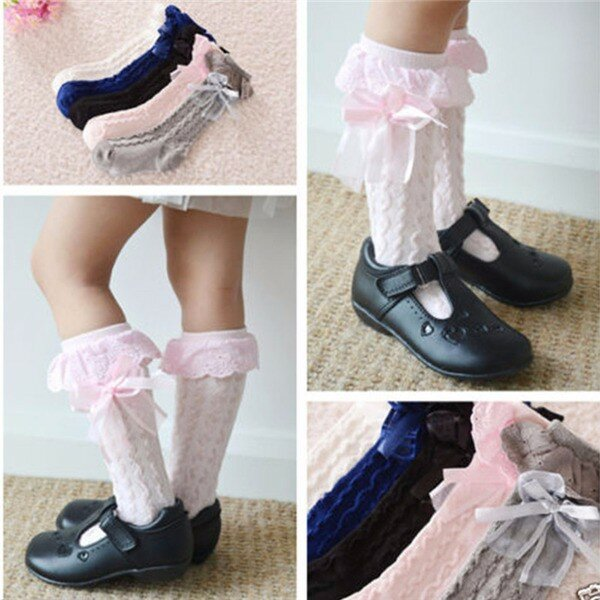 Toddler Kids Girl Pretty Cotton Lace Ginocchio alto Calze