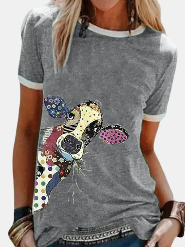 Giraffe Printed Short Sleeve O-neck T-shirt For Women