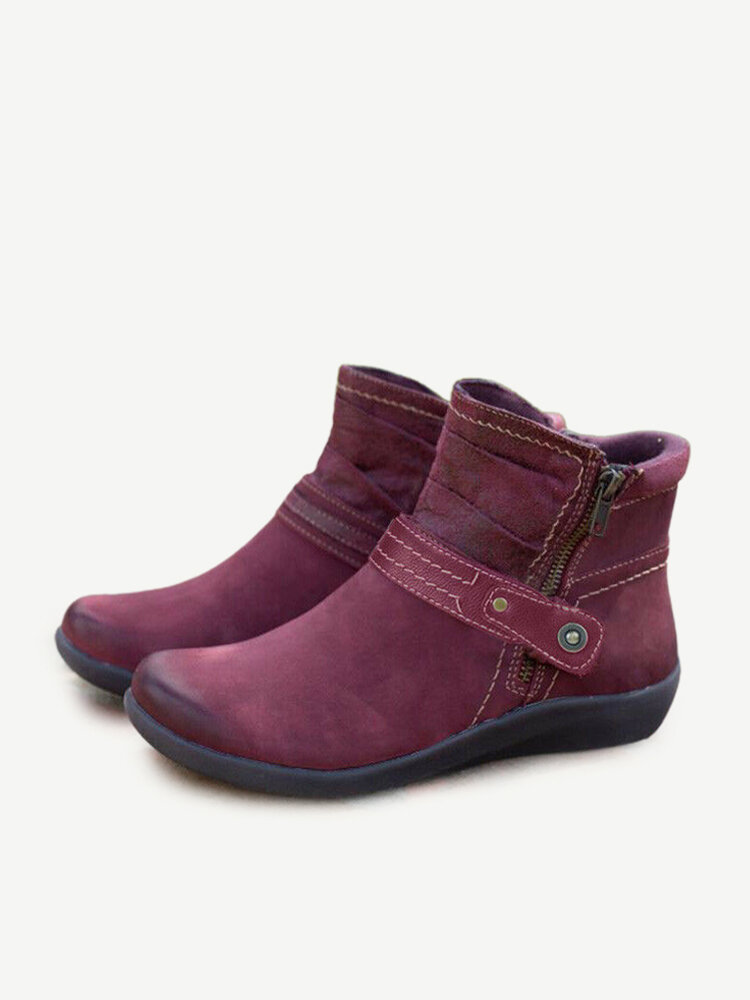 Women Solid Color Buckle Strap Decoration Stitching Zipper Winter Ankle Boots