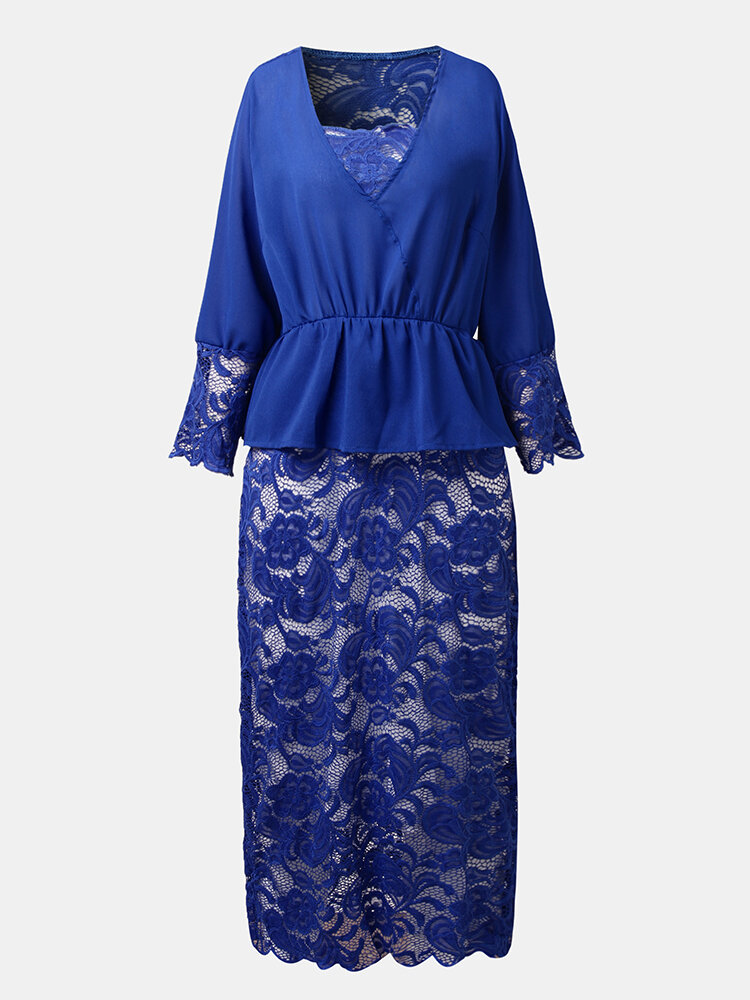 Lace Embroidery Patchwork Tie Front Plus Size Buttocks Midi Dress