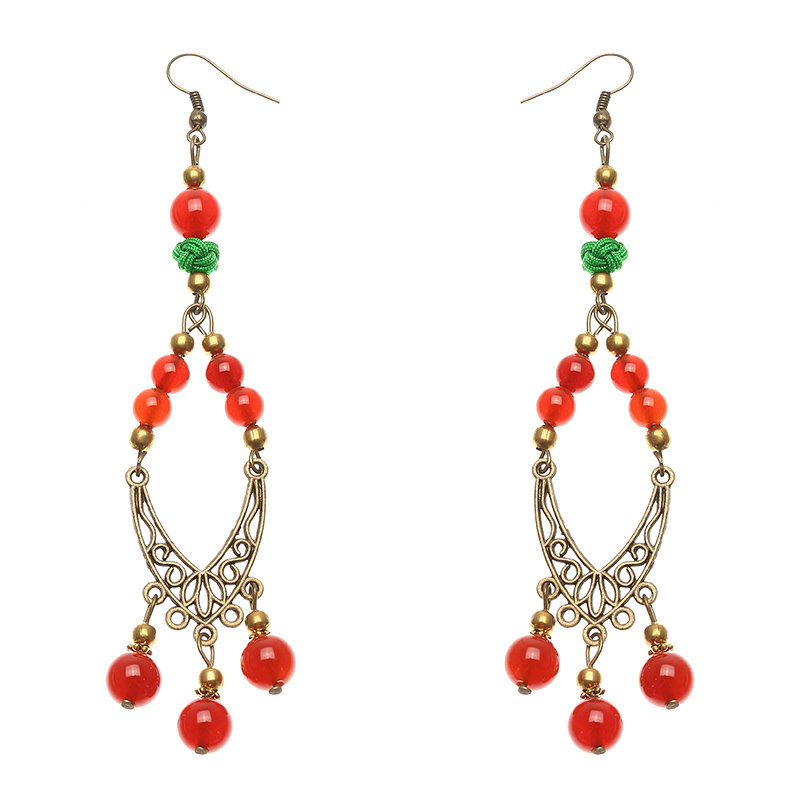 Women's Ethnic Earrings Retro Agate Ear Drop Earrings