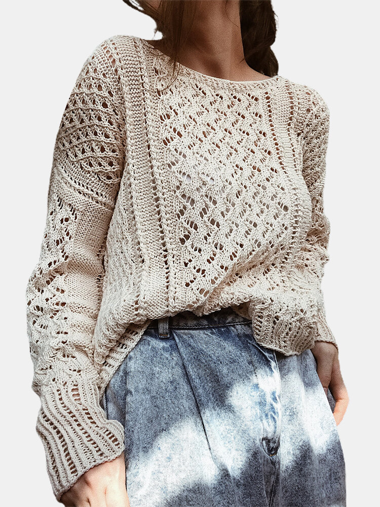 Casual Hollowed Solid Color Loose Women Knit Sweater