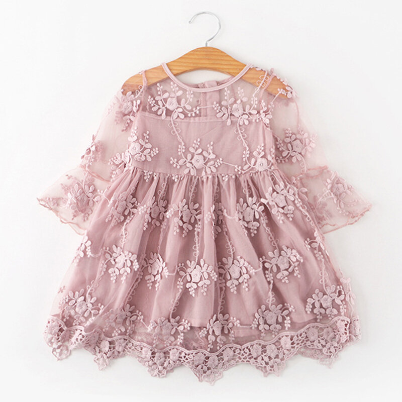 Lace Flower Girls Embroidery Princess Dress For 3-11Years