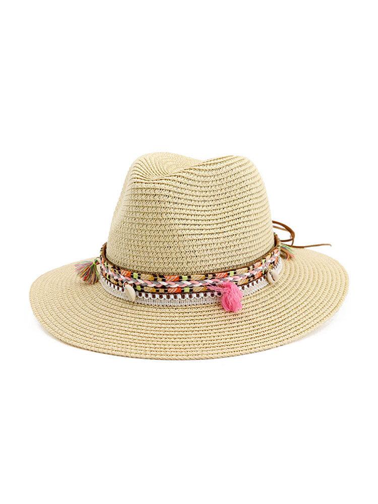 Women Jazz Straw Hat Outdoor Beach Sunscreen Sun Hat