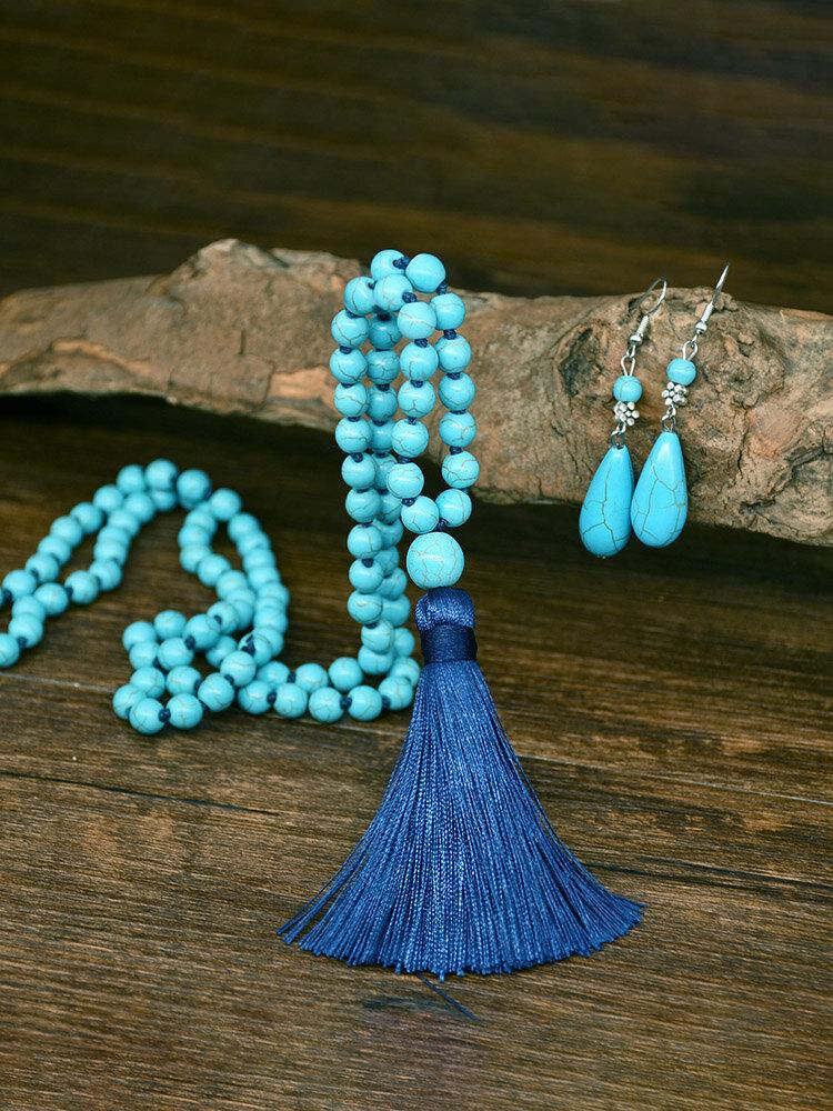 2 Pcs Bohemian Turquoise Women Jewelry Set Tassel Beaded Necklace Sweater Chain Pendant Earrings