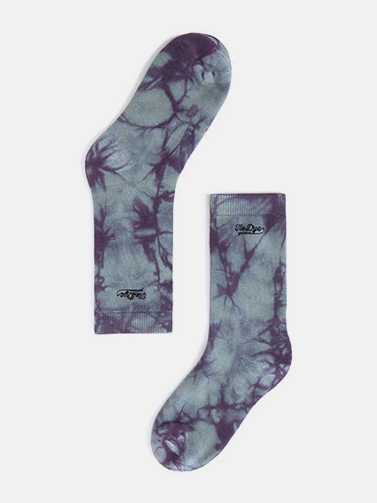 Tide Brand Abstract tie Dye Embroidery High Tube Stockings Socks