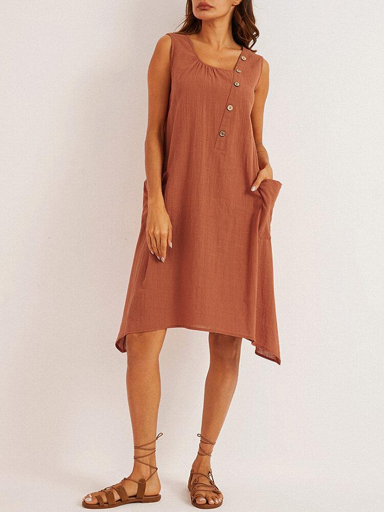 Einfarbiger ärmelloser Knopf unregelmäßig Kleid Für Damen
