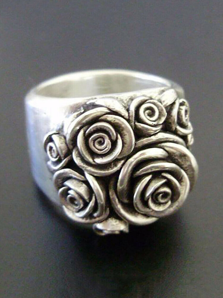 Vintage Alloy Flower Carved Women Ring Jewelry Gift