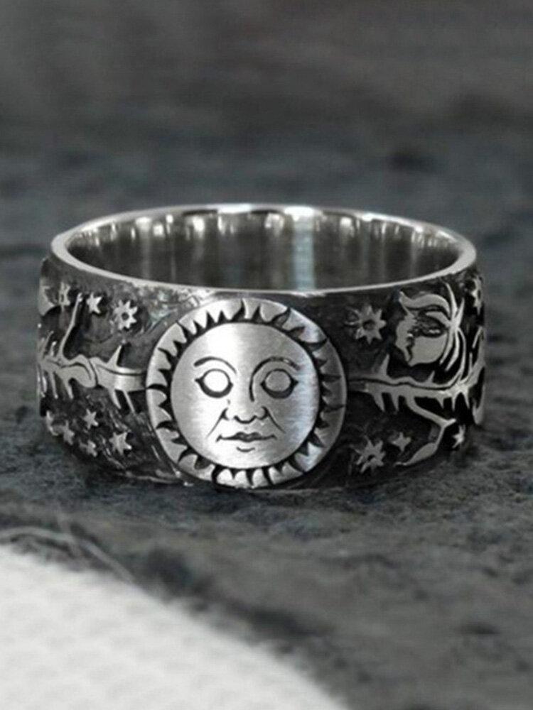 Punk Sun Moon Ring Thai Silver Flower Ring