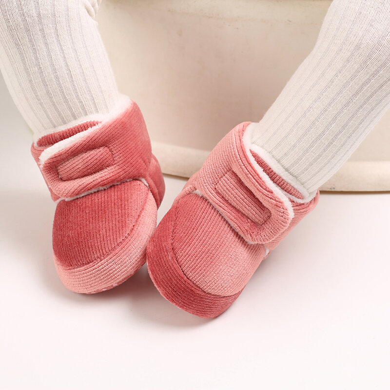 Baby Toddler Shoes Cute Comfy Plush Warm Soft Sole Hook Loop Snow Boots