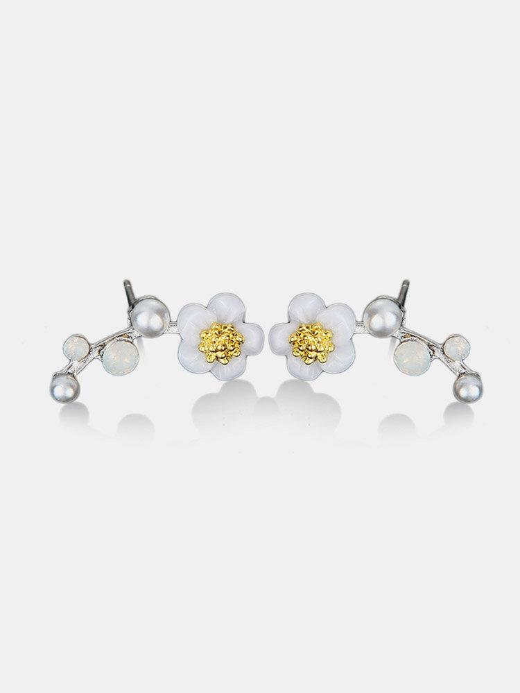 Fashion Charm Rhinestones Earrings Pearl Branch Shell Flower Cute Earrings for Girls Women