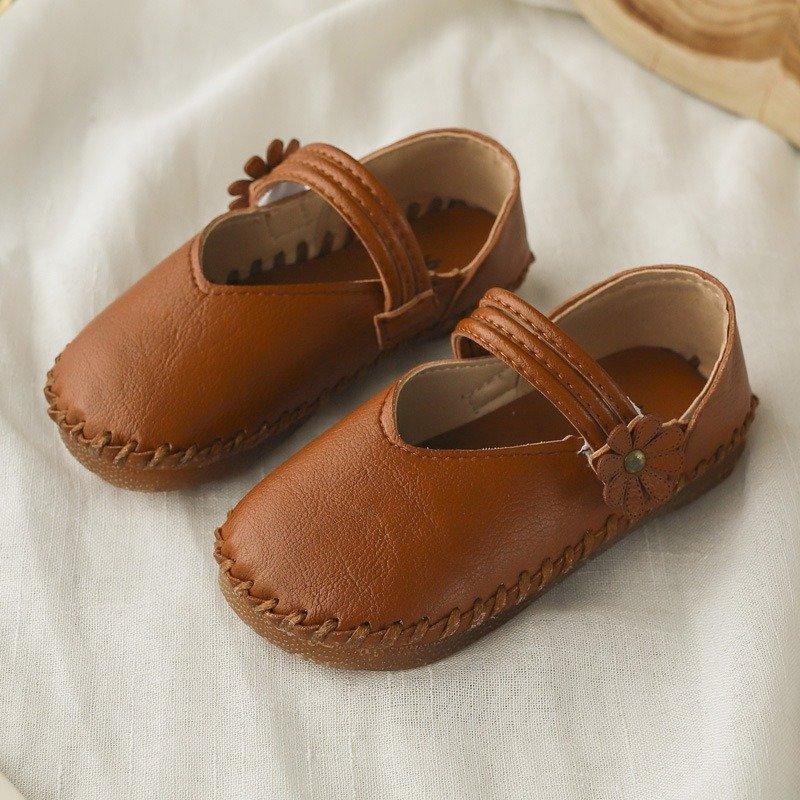 Filles, couture, couleur pure Soft Chaussures plates à boucle à crochet pour anse