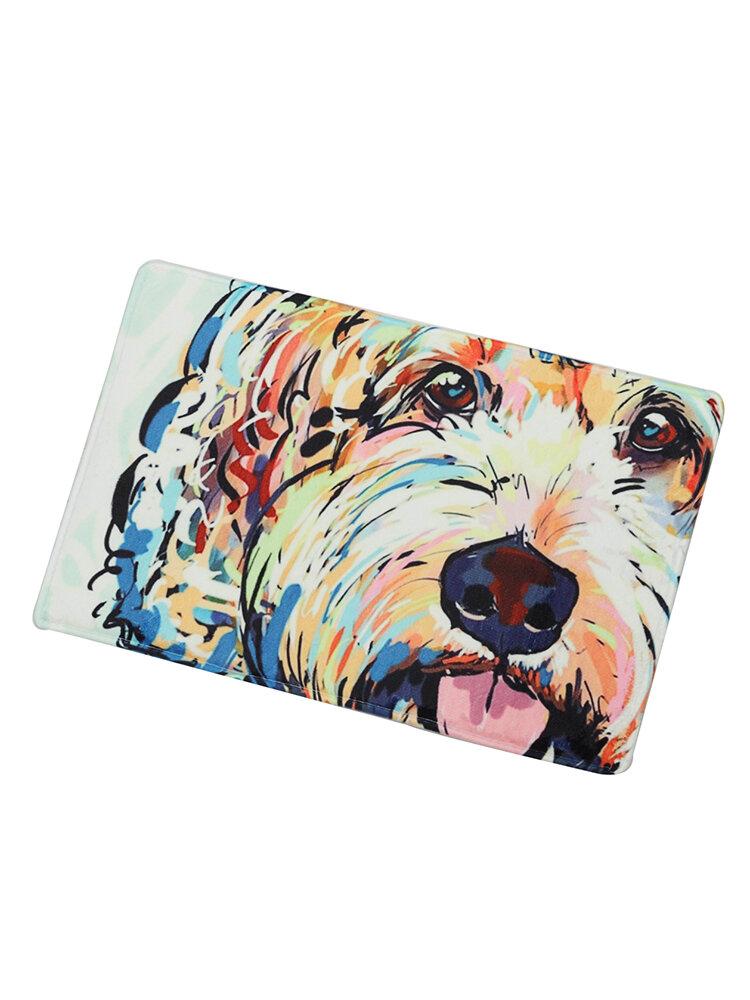 Aquarell Hundemuster Teppichmatten Rutschfeste Badteppiche Tiertür Rechteck Fußmatten 40 * 60cm