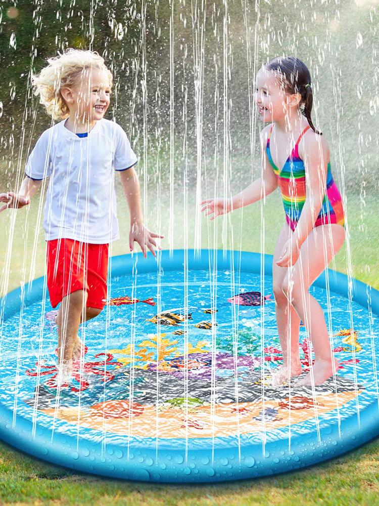 170センチスプラッシュ水プレイマットスプリンクルスプラッシュプレイマットおもちゃ屋外スイミングビーチ芝生インフレータブルスプリンクラーパッド用子供