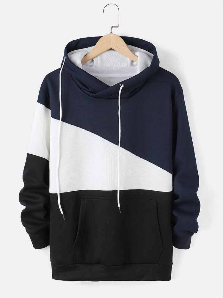 Mens Colorblock Patchwork Drawstring Casual Pullover Hoodie