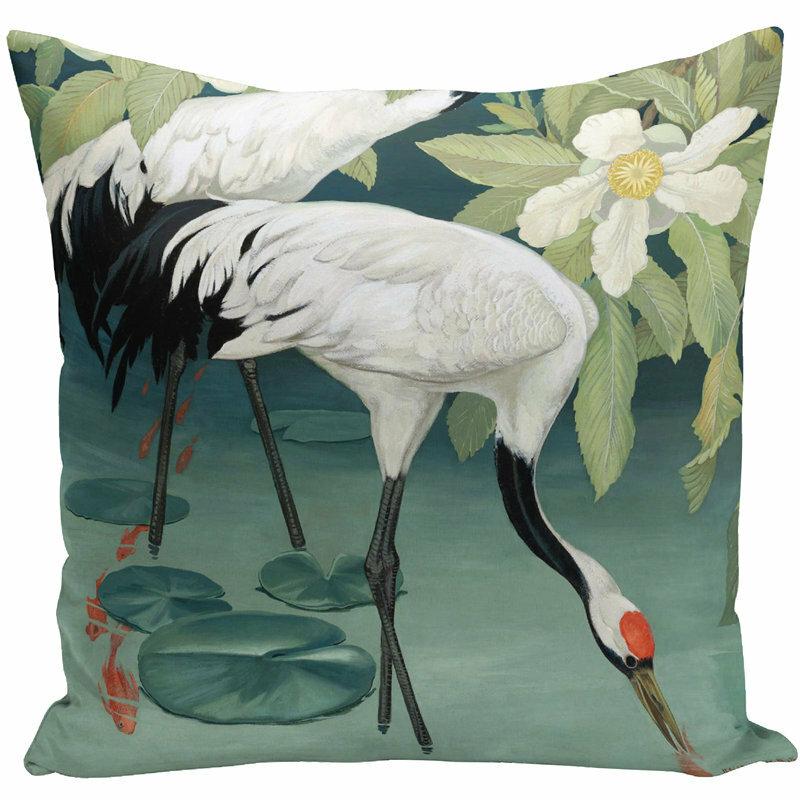 Pintura retro Flamingo Swan Funda de almohada de hadas Funda de cojín para sofá de tela para el hogar