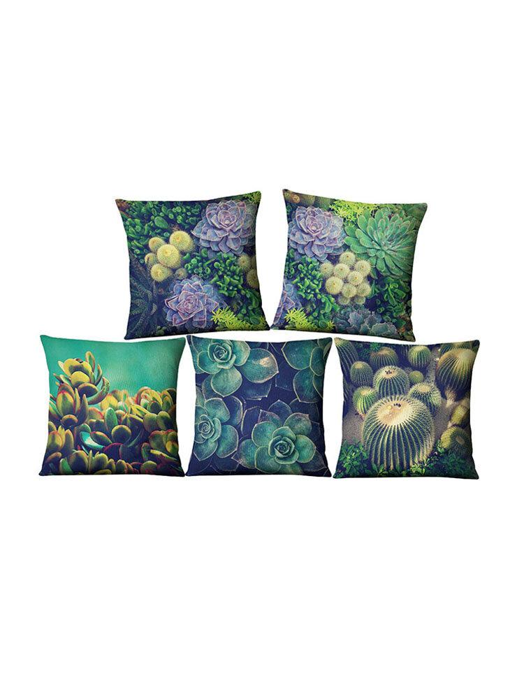Succulent Cactus Linen Pillow Case Home Fabric Sofa Desert Green Cushion