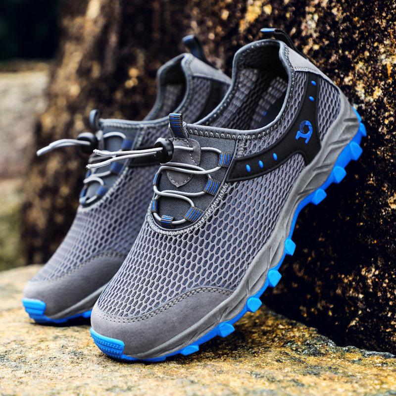 men-outdoor-mesh-hiking-sneakers-slip-resistant-water-upstream-shoes by newchic