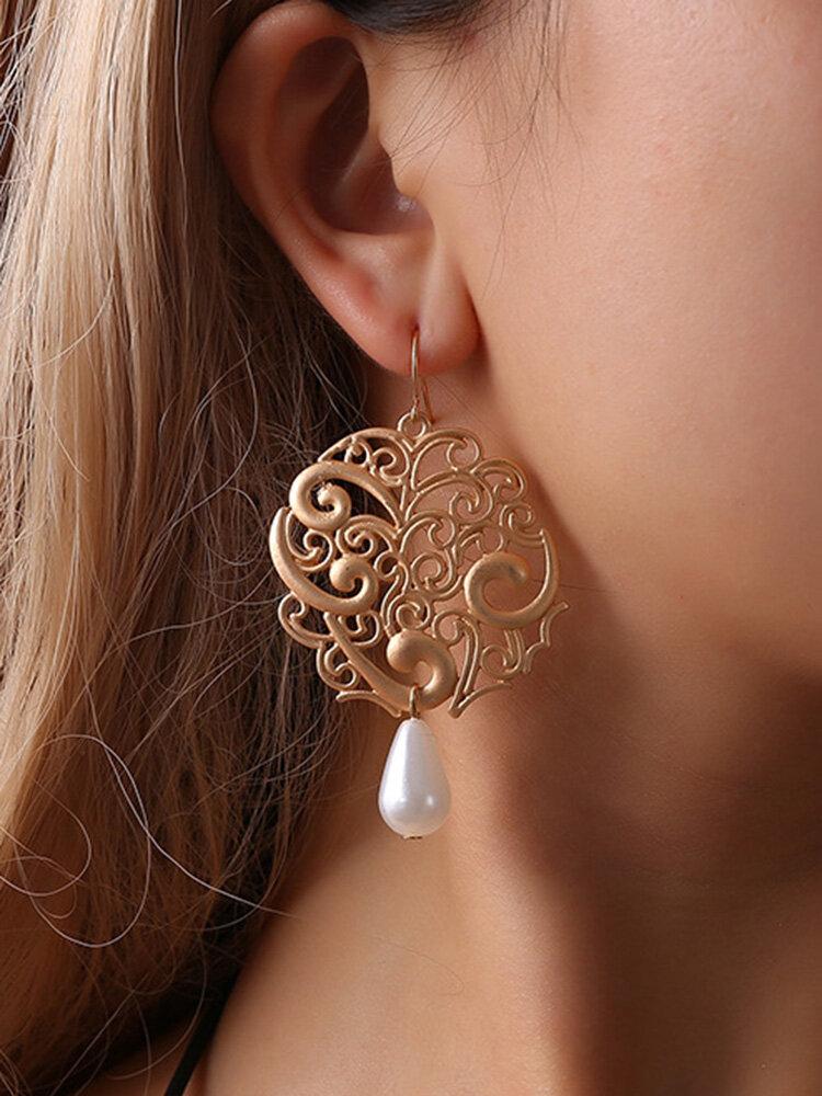 Vintage Ear Drop Earrings Hollow Irregular Water Drop Preals Pendant Dangle Ethnic Jewelry for Women
