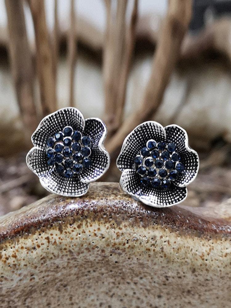 Vintage Stereoscopic Flowers Earrings Inlaid Diamond Large Ear Stud