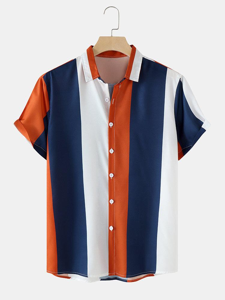 Mens Striped Lapel Short Sleeve Button Up Preppy Shirt
