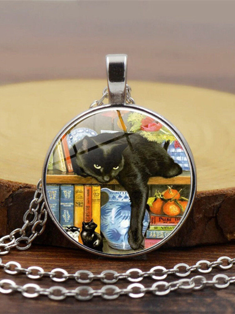 Vintage Glass Printed Women Necklace Black Cat Bookcase Crystal Pendant Sweater Chain Jewelry Gift
