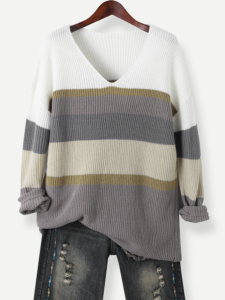Multi-colored Striped V-neck Long Sleeve Knitted Casual Sweater for Women