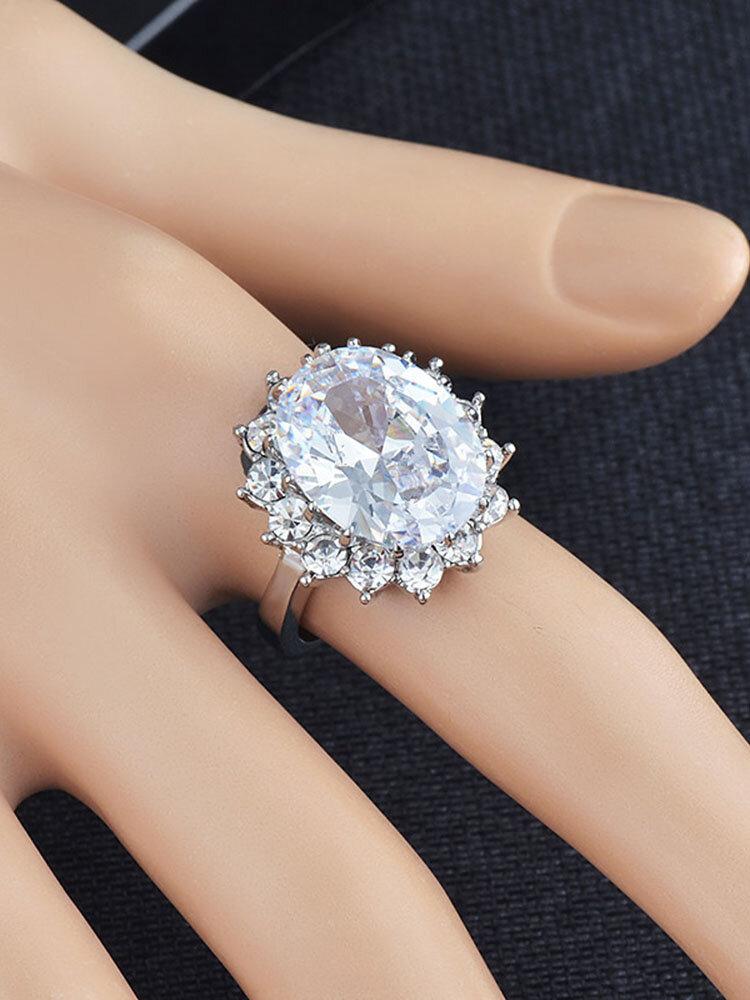 Vintage Metal Geometric Diamonds Rings Round Blue Crystal Rhinestone Finger Rings Chic Jewelry