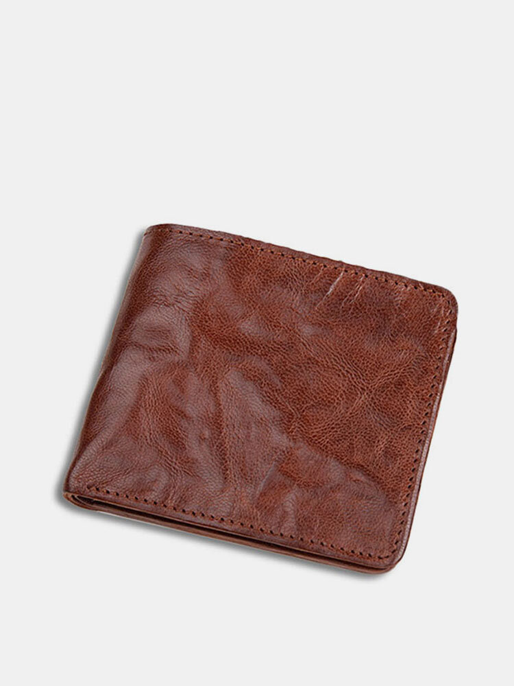 Men Genuine Leather Cow Leather Old Vintage Business Money Clips Coin Wallet