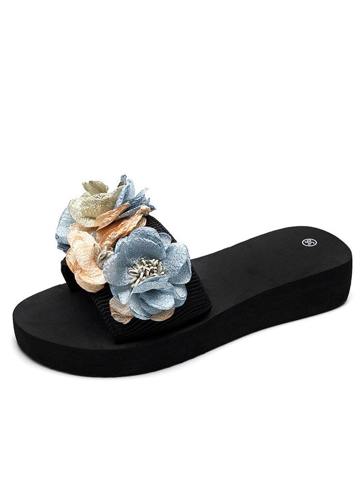 Women Flowers Decor Soft Bottom Slippers
