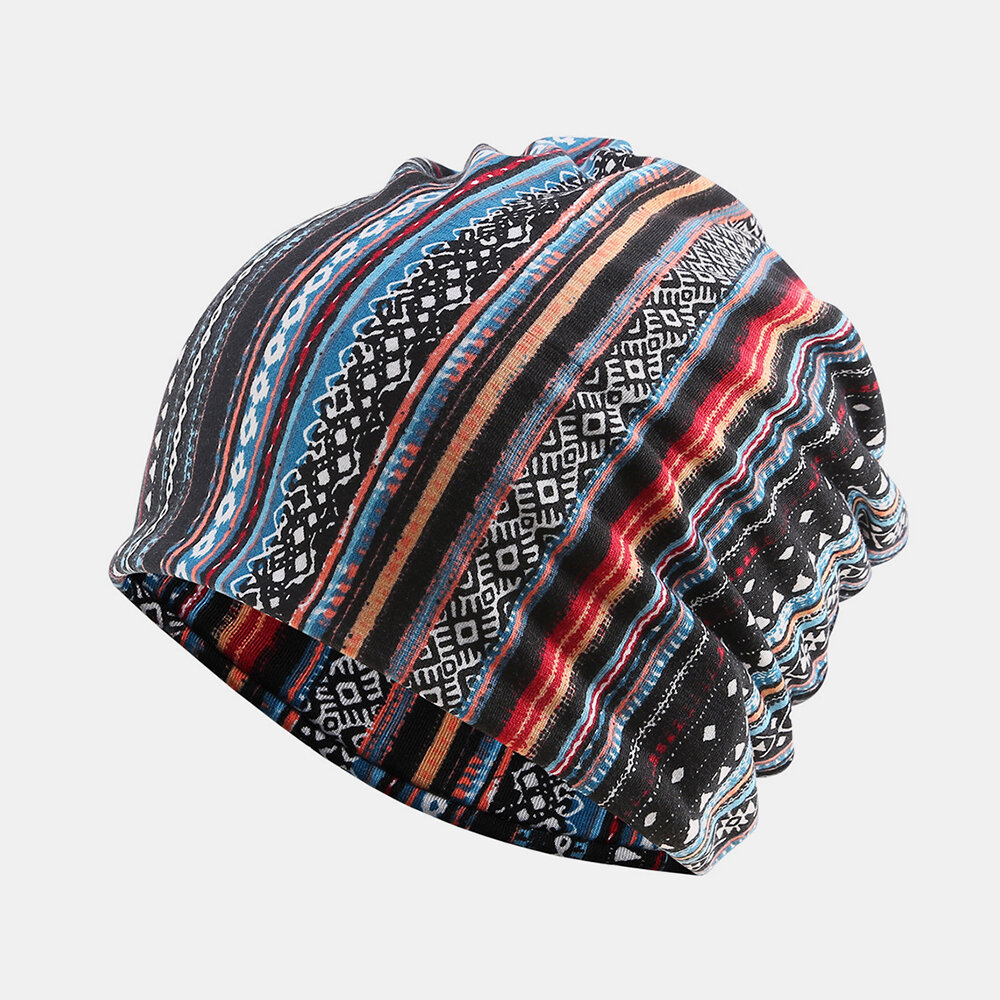 Vintage Multi-striped Rhombus Ethnic Cotton Beanie Hat Good Elastic Breathable Turban Caps