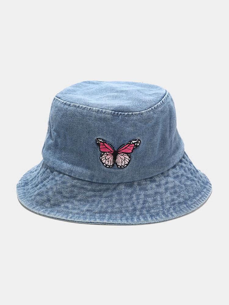 महिला और पुरुष कढ़ाई तितली पैटर्न डेनिम आउटडोर आकस्मिक सनशेड बाल्टी टोपी