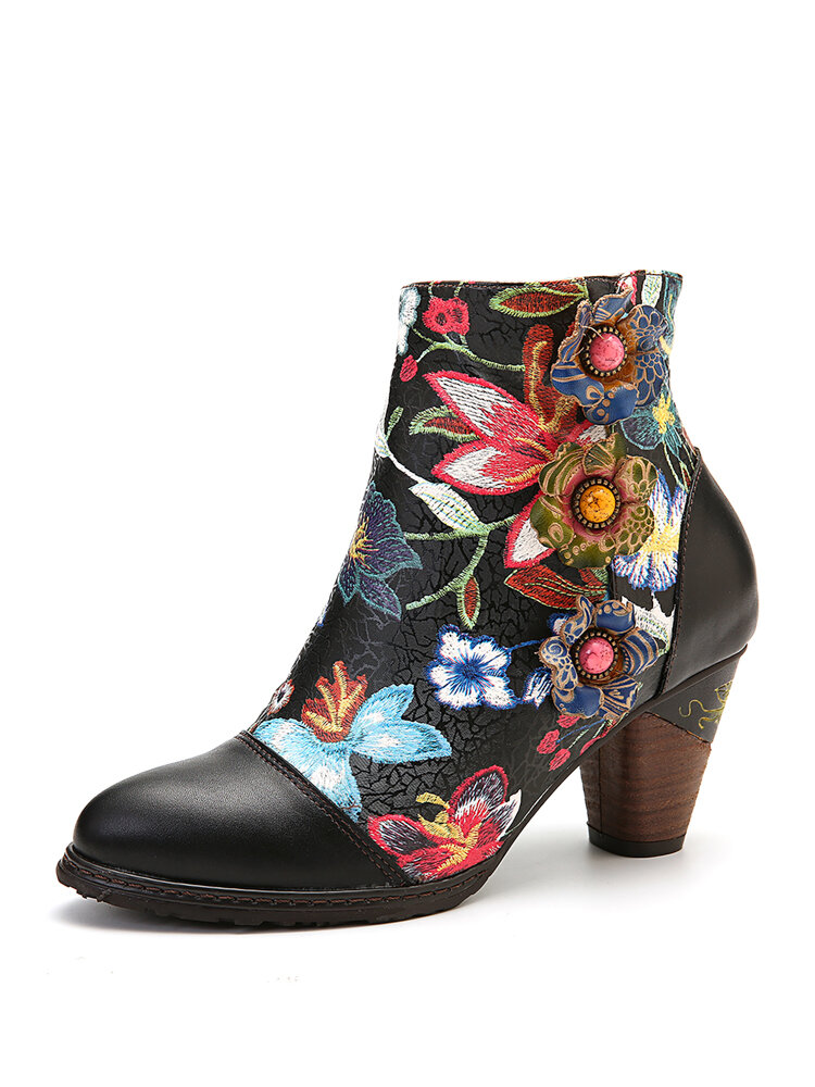 SOCOFY Colorful Floral Genuine Leather High Heel Elegant Ankle Boots
