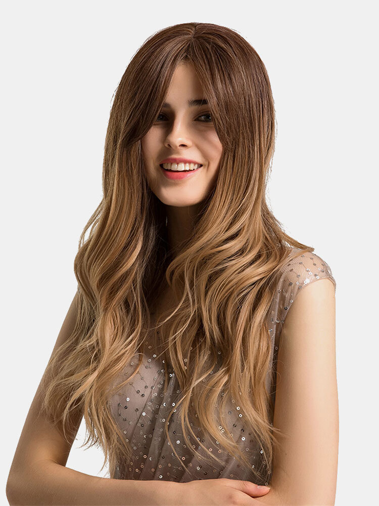 24 inches Brown Blond Synthetic Wig Water Wavy Long Wigs Bangs Heat Resistant Fiber Wig