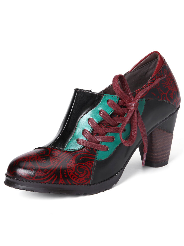 SOCOFY Retro Splicing Embossed Flower Genuine Leather Lace Up Slip On Pumps