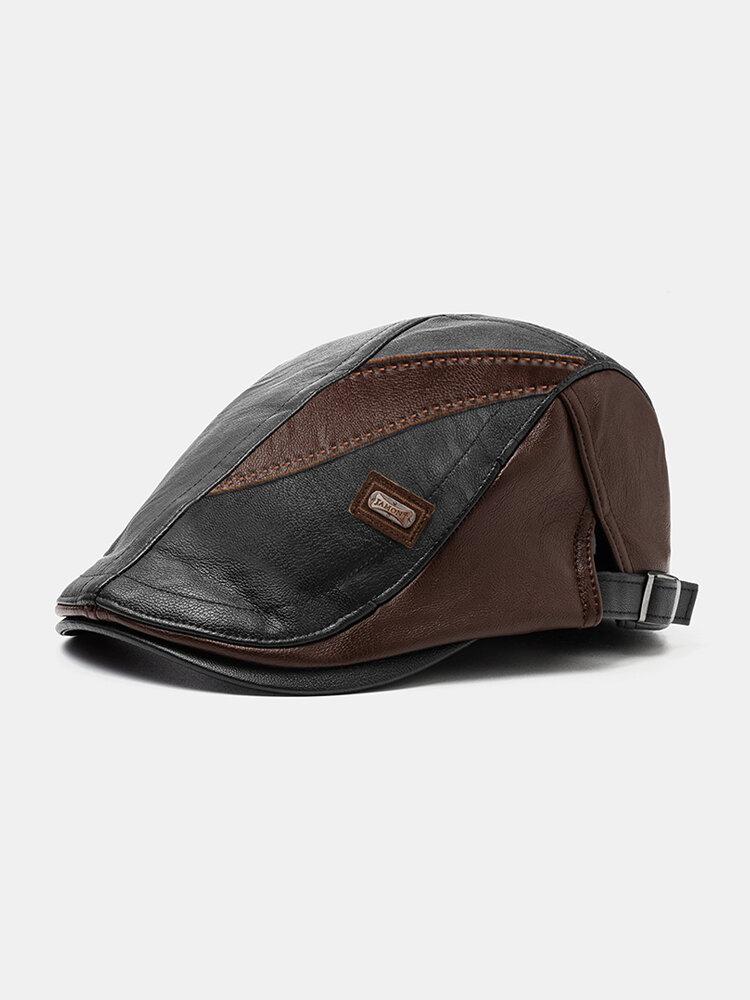 COLLROWN hommes Faux cuir Patchwork couleur décontracté Vintage réglable avant chapeau béret chapeau