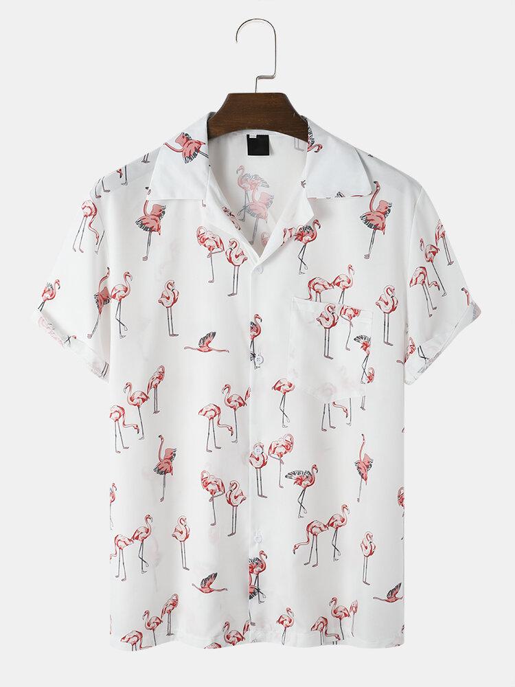 メンズフラミンゴプリントリビアカラー半袖シャツポケット付き