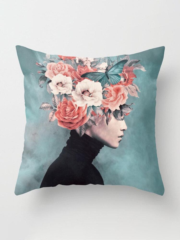 New Print Woman Flower Head Avatar Pillowcase Home Sofa Office Cushion Cover