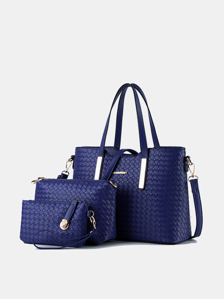 Women 3 PCS Vintage PU Leather Shoulder Bag Handbag Clutch Bag