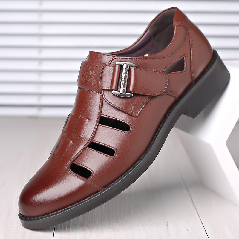 Mens Closed Toe Woven Leather Hook Loop Dress Sandals